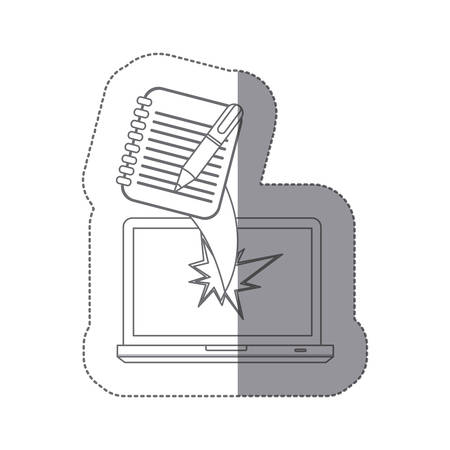 sticker monochrome silhouette broken front view tech laptop with notebook with rings and pen vector illustration