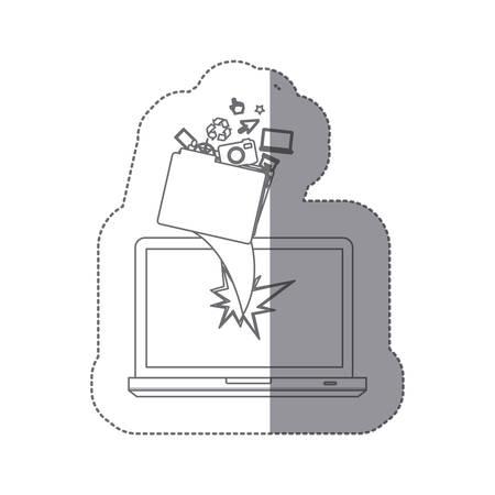 Autocollant monochrome silhouette brisé avant la technologie ordinateur portable avec des éléments de protection illustration vectorielle Banque d'images - 97486843