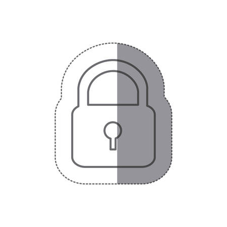 sticker silhouette padlock security icon flat vector illustration