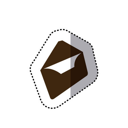 sticker brown silhouette envelopes opened icon flat vector illustration