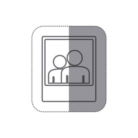 sticker silhouette frame photography couple people icon vector illustration