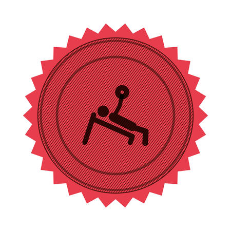 pink circular seal of man with training weightlifting vector illustration
