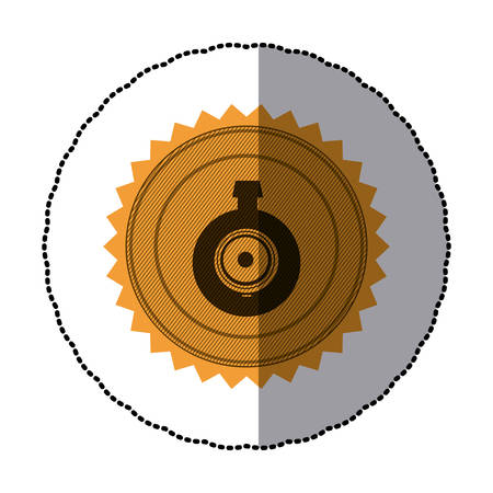 sticker of circular frame with contour sawtooth with video security camera lens vector illustration