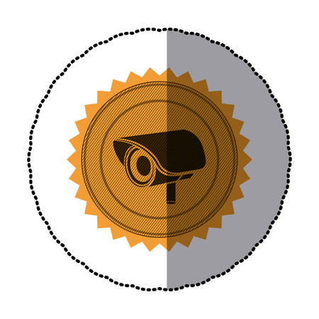 sticker of circular frame with contour sawtooth with exterior video security camera vector illustration