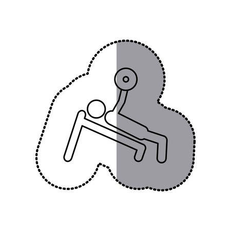sticker of monochrome pictogram of man with training weightlifting