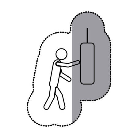 sticker of monochrome pictogram with man knocking punching bag