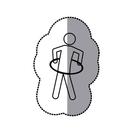 sticker of monochrome pictogram with training in hula hoop vector illustration