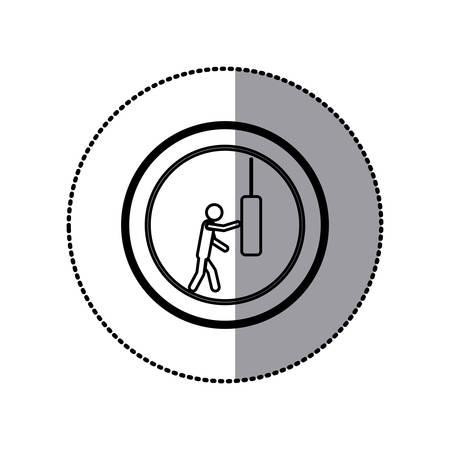sticker of monochrome pictogram with man knocking punching bag in circular frame
