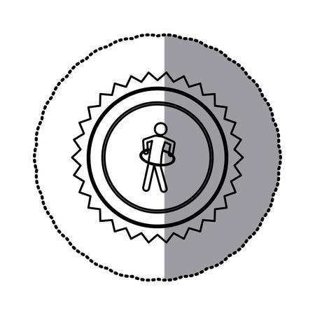 sticker of monochrome circular frame with contour saw-tooth of pictogram with training in  hoop Banque d'images - 103513371