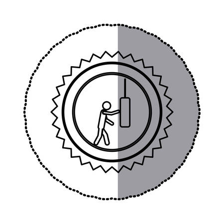 sticker of monochrome circular frame with contour saw-tooth of pictogram with man knocking punching bag