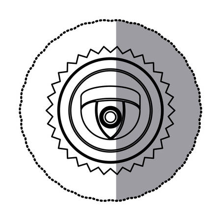 sticker of monochrome circular frame with contour sawtooth of video security camera in shape of dome vector illustration Illustration