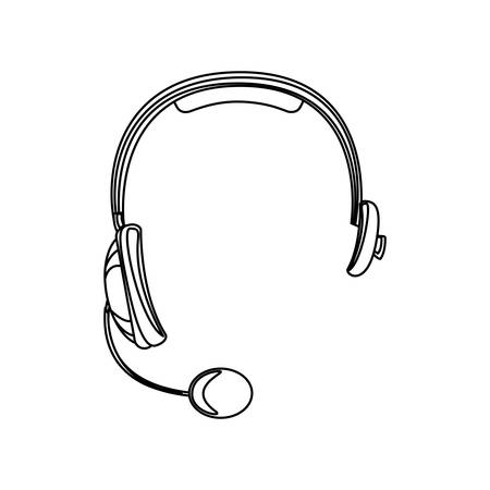 monochrome silhouette of hands free headset icon vector illustration