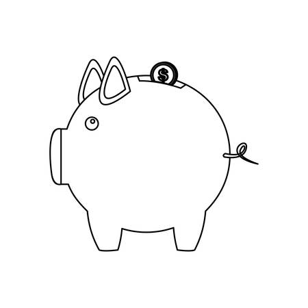 monochrome contour of money box in shape of piggy