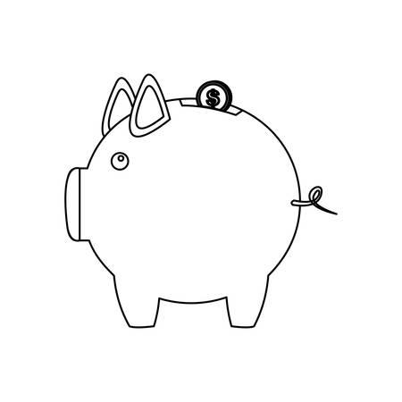 monochrome contour of money box in shape of piggy