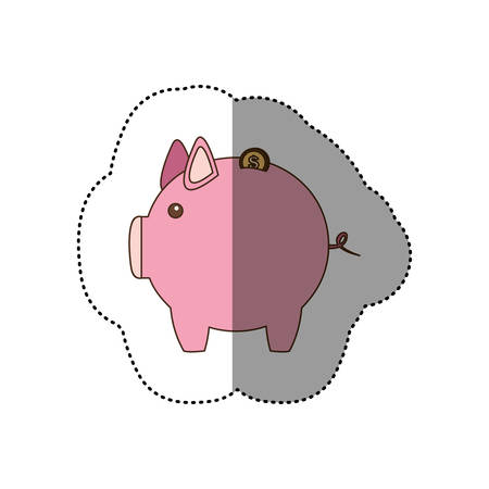 colorful silhouette sticker of pink piggy bank vector illustration