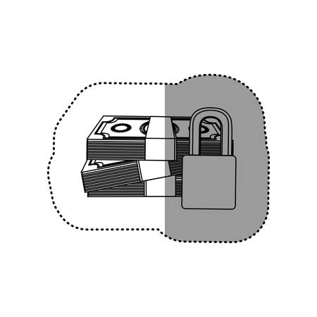 monochrome contour sticker of stacked bills with padlock protection vector illustration