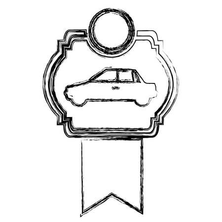 monochrome sketch of automobile of side view in heraldic frame with ribbon vector illustration