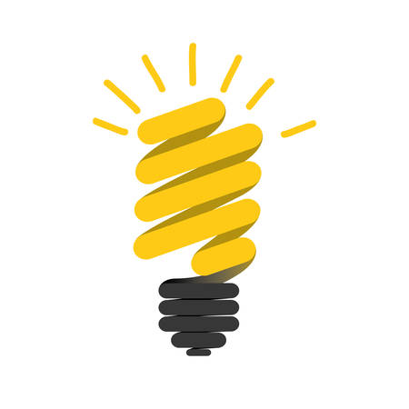 color silhouette of florescent spiral bulb idea vector illustration
