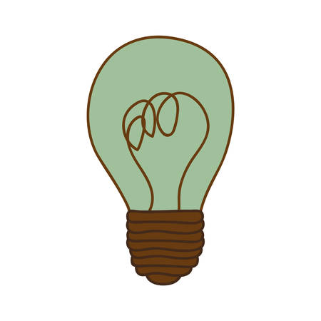silhouette of light bulb with turquoise glass vector illustration