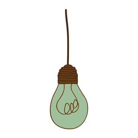 silhouette of turquoise light bulb pendant vector illustration Illustration