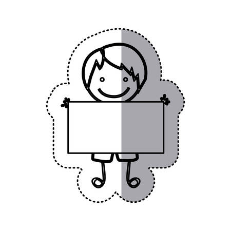 sticker sketch silhouette caricature boy with straight hair and banner vector illustration Illustration