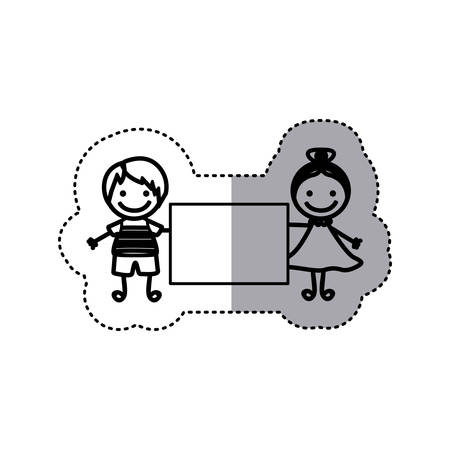 sticker sketch silhouette caricature couple boy with straight hair and girl with collected hair and banner vector illustration  イラスト・ベクター素材
