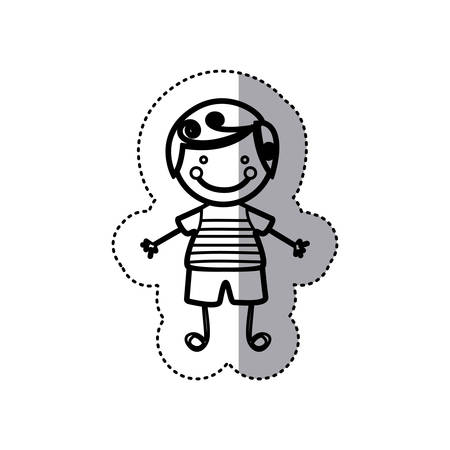 sticker sketch silhouette caricature boy with curly hair vector illustration