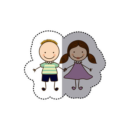 sticker colorful caricature couple boy with hairstyle and girl with hair pigtails vector illustration