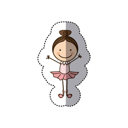 sticker colorful caricature caricature girl ballet dancer vector illustration