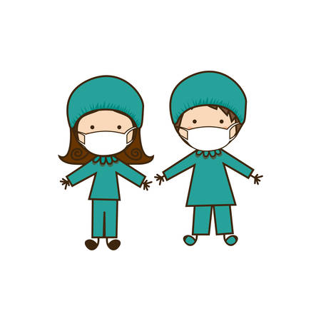 costume de médecin couple caricature colorée Vecteurs