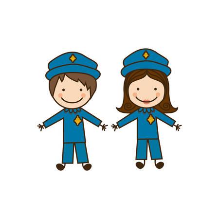 colorful caricature couple cops costume vector illustration