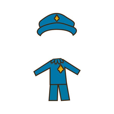 colorful caricature cop costume profession vector illustration