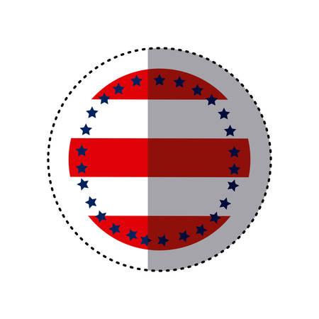 Sticker circular emblem flag with stars vector illustration