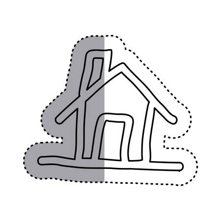 sticker contour house with chimney icon flat vector illustration