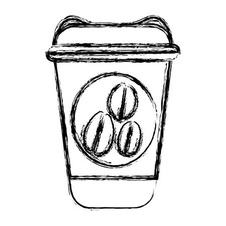 blurred silhouette glass disposable for hot drinks with lid vector illustration