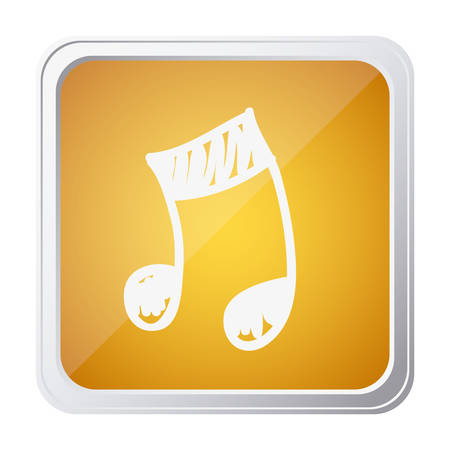 button of musical note with background yellow and hand drawn vector illustration Illustration