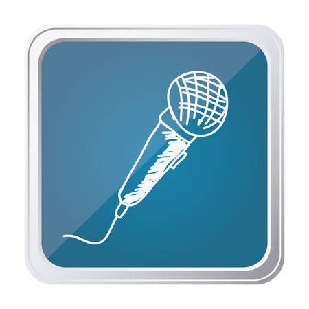 button of microphone with background blue and hand drawn vector illustration