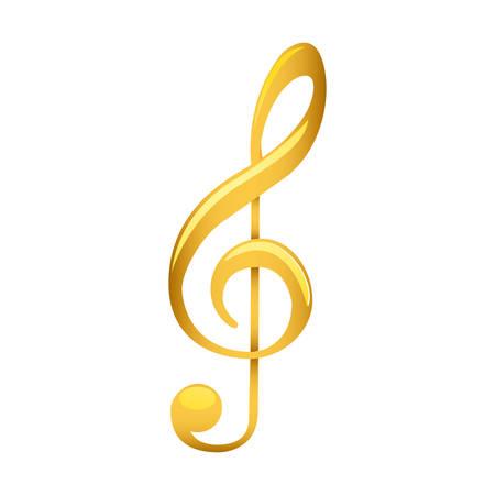 Violinschlüssel in Gold mit weißer Vektorillustration im Hintergrund