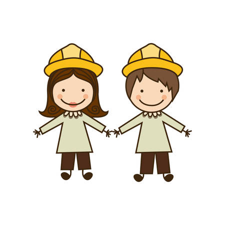 colorful caricature couple architects costume vector illustration
