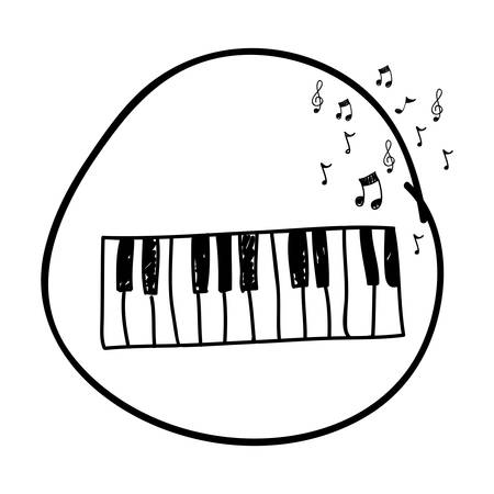 monochrome hand drawing of piano keyboard in circle and musical notes vector illustration Vettoriali