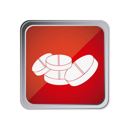 button with pills with background red vector illustration