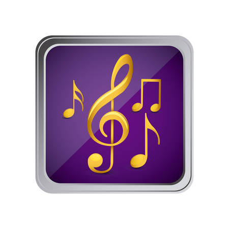 button with set of musical notes background purple vector illustration