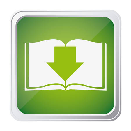 button icon of book with arrow down with background green vector illustration