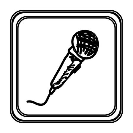 monochrome contour with microphone hand drawn vector illustration