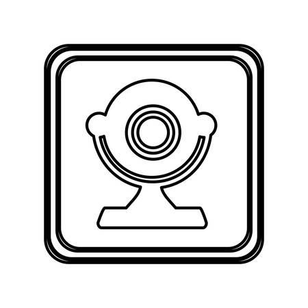 monochrome contour of button with desktop webcam vector illustration