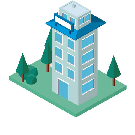 mini tree and building isometric vector illustration design Illustration