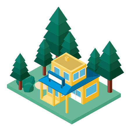 mini tree and store building isometric vector illustration design