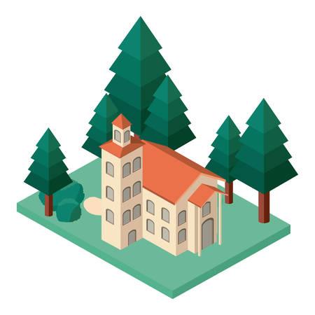 mini tree and castle building isometric vector illustration design