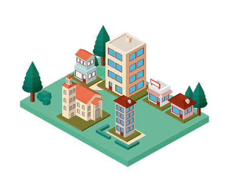 mini trees and buildings neighborhood isometric vector illustration design