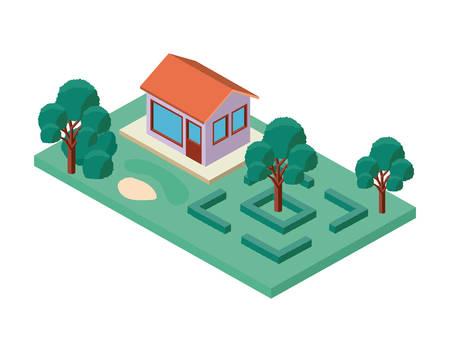 mini tree and house isometric vector illustration design Illustration